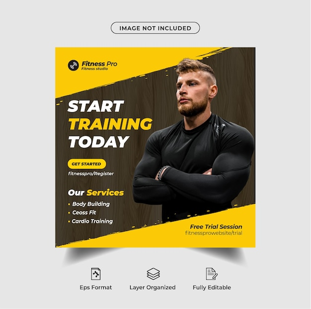 Fitness instagram social media post template design oder fitness-webbanner premium-vektor