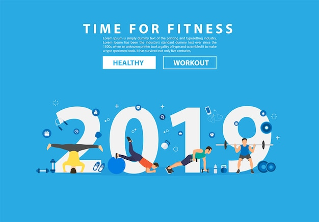 Fitness-konzepttraining des neuen jahres 2019