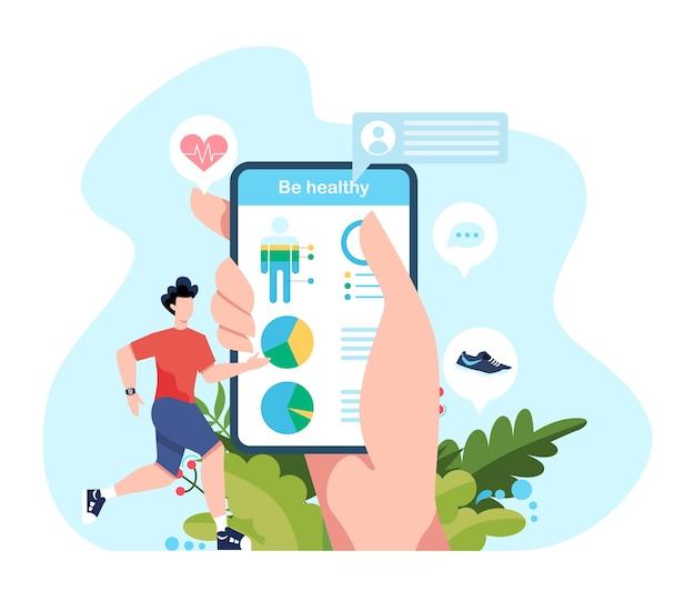 Fitness-lauf- oder jogging-konzept. idee eines gesunden und aktiven lebens. immunverbesserung und muskelaufbau. illustration