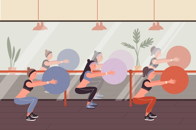 Fitness-leute bei sporttraining-vektorillustration. karikatur sportliche frau gruppe von charakteren in sportswear squat