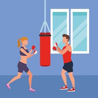 Fitness-leute und turnhalle