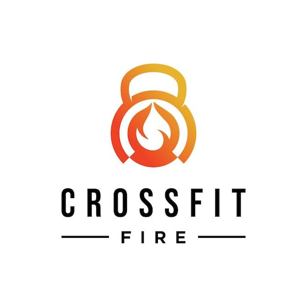 Fitness-logo mit feuerdesign-inspiration