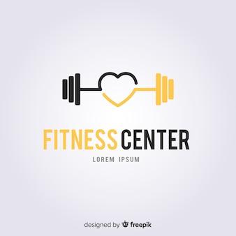 Fitness logo vorlage flachen stil
