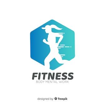 Fitness logo vorlage flachen stil Premium Vektoren