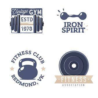 Fitness-logo-vorlagen im retro-stil. weinlesedesign für ein turnhallenlogo. fitness-club-abzeichen im old-school-stil.