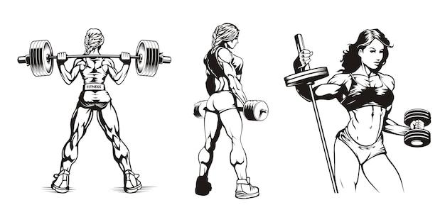 Fitness-mädchen, junge schöne muskulöse frauen mit hanteln, satz illustrationen
