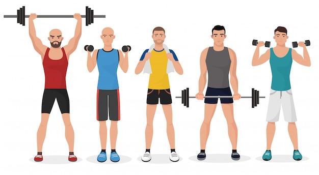 Fitness-männer im fitnessstudio eingestellt