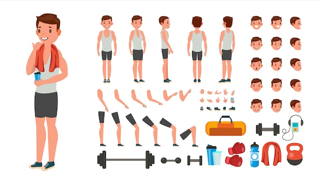 Fitness man gesetzt