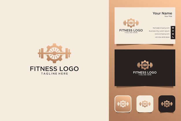 Fitness mit ausrüstungslogo-design und visitenkarte