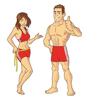 Fitness-modell-karikatur