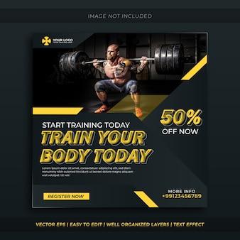Fitness oder fitnessstudio social media banner.