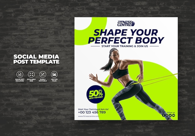 Fitness oder gym social media banner oder square excercise sport studio flyer template