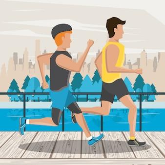 Fitness paar freunde laufen