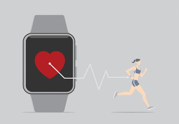 Fitness-sensor-app-konzept. mädchen läuft mit tragbarem gerät.