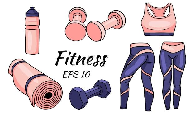 Fitness-set. kleidung, hanteln und eine matte für sport und yoga. isolierte illustration für design und typografie.