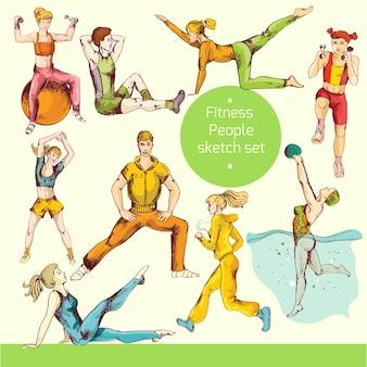 Fitness-skizze gefärbt