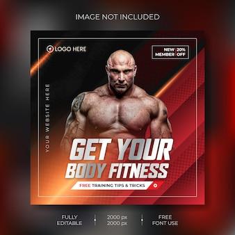 Fitness-social-media-banner-vorlage vector premium