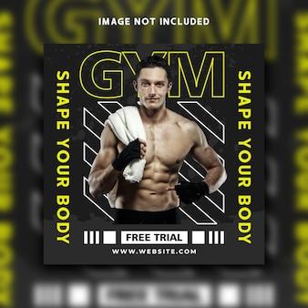 Fitness social media post instagram banner vorlagendesign