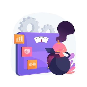 Fitness-software. schlankheitsorganisator, sporttrainingsplaner, gewichtsverlustprogramm. frau, die laptop für trainingsfortschritt und wellness-tracking verwendet.