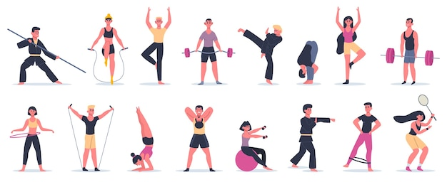 Fitness sport aktivitäten. menschen trainieren, männliche weibliche charaktere, die sport, kampfkunst und yoga-illustrationsikonen ausführen. art martial und yoga, sportbekleidung und sportausrüstung