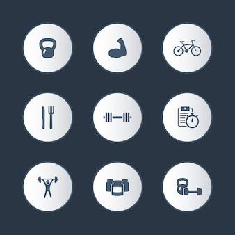Fitness, sport, turnhalle runden icons set