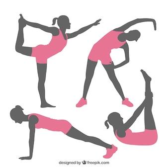 Fitness stellt silhouetten Premium Vektoren