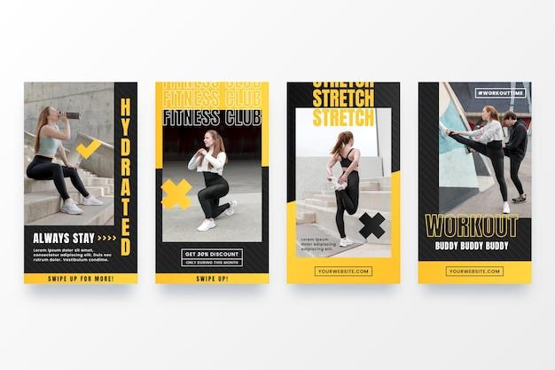 Fitness-story-paket mit farbverlauf