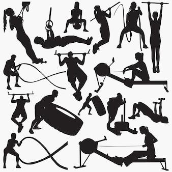 Fitness-studio-ausrüstung silhouetten