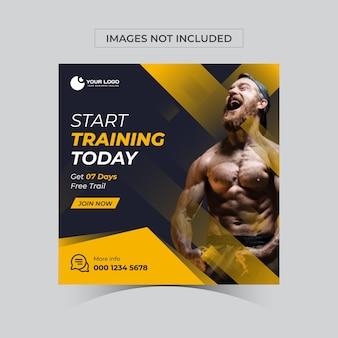 Fitness-studio-fitness-social-media-post-bannervorlage
