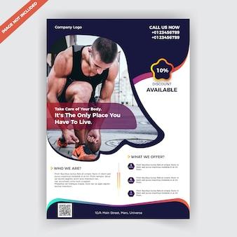 Fitness-studio flyer designvorlage