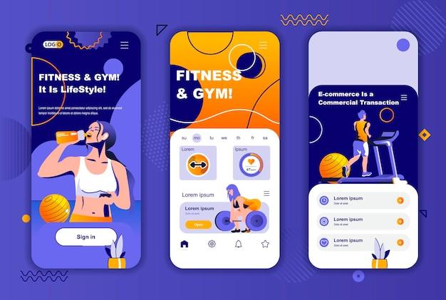 Fitness-studio mobile app bildschirme vorlage für soziale netzwerke geschichten