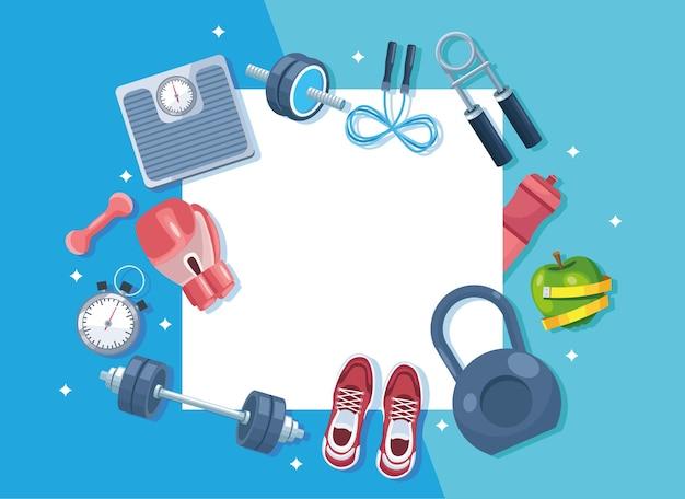 Fitness-studio quadratischer rahmen