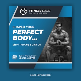 Fitness-studio social media banner design quadratische post vorlage oder flyer design