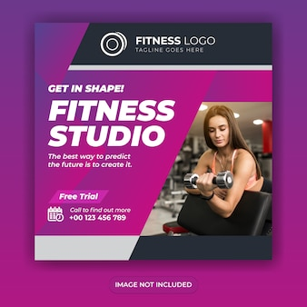 Fitness-studio social media banner design quadratische post vorlage oder flyer design Premium Vektoren