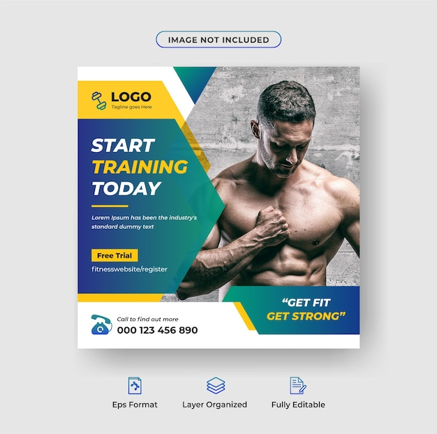 Fitness-studio-social-media-banner oder instagram-postdesign-vorlage premium-vektor