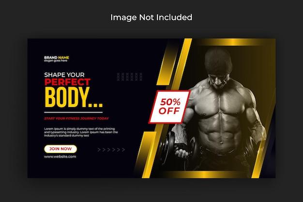 Fitness-studio-social-media-post-flyer-facebook-cover und web-banner-premium-vektor