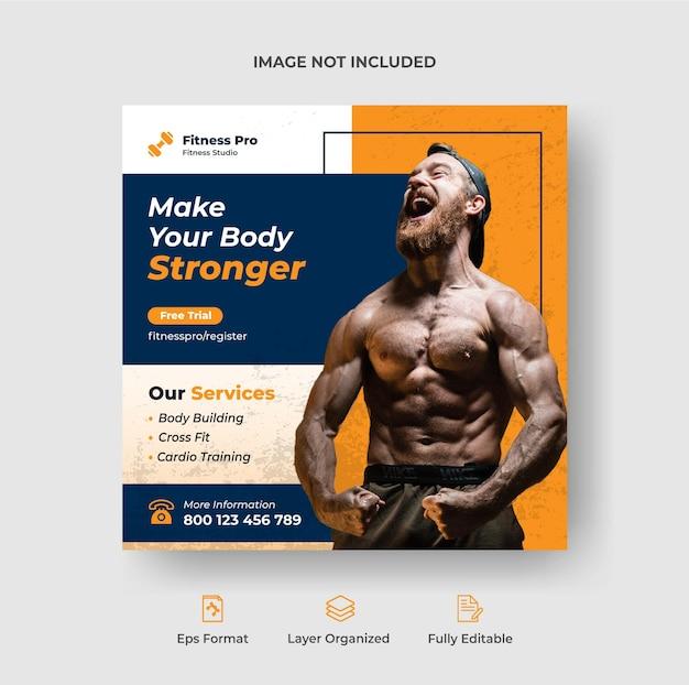Fitness-studio-social-media-post oder quadratische flyer-web-banner-vorlage premium-vektor