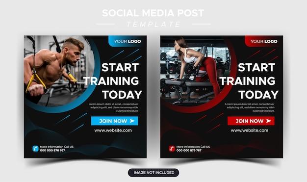 Fitness-studio-social-media-post und web-banner-design