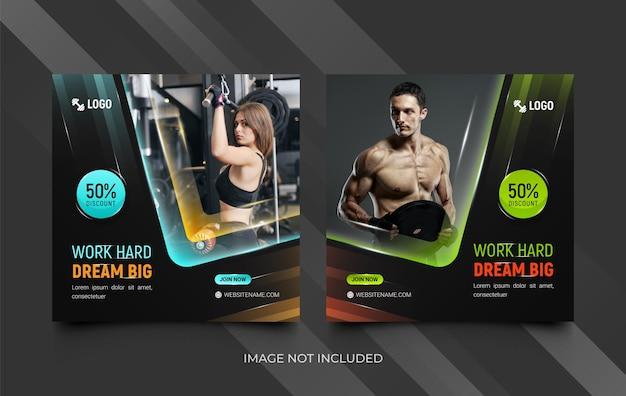 Fitness-studio-social-media-vorlagen-set