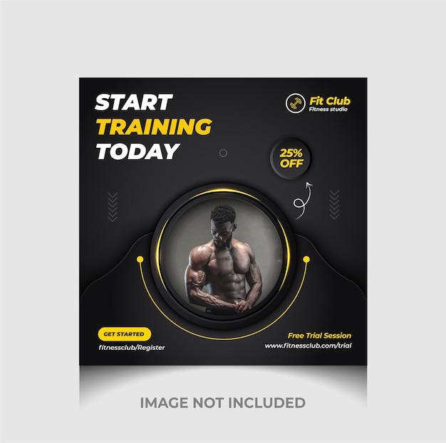 Fitness-studio-social-media-werbe-webbanner und instagram-post mit luxuriösem schwarz premium-vektor