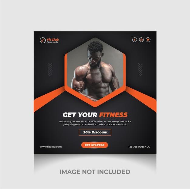 Fitness-studio-social-media-werbebanner und instagram-post premium-vektor