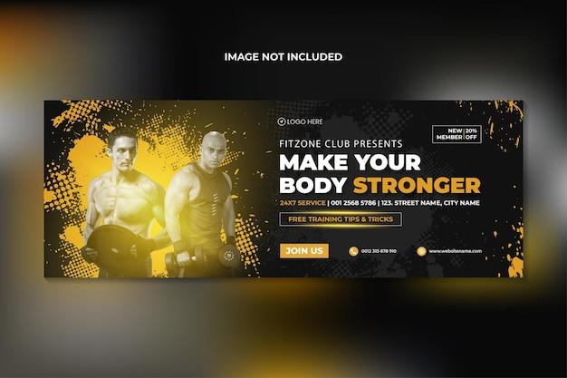 Fitness-studio-training-facebook-abdeckung und web-banner-vorlage premium-vektor