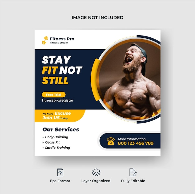 Fitness-studio-training instagram-post und social-media-web-banner-vorlage premium-vektor