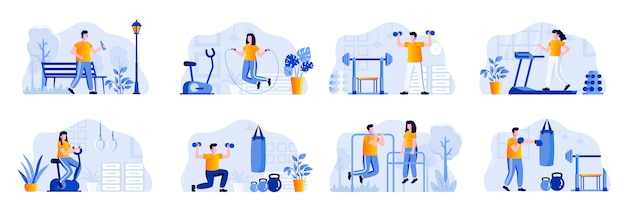 Fitness-szenen bündeln sich mit menschen charakteren. menschen rennen, springen mit seilen, heben hanteln und trainieren mit boxsacksituationen. sportliche aktivitäten und workout flat illustration.