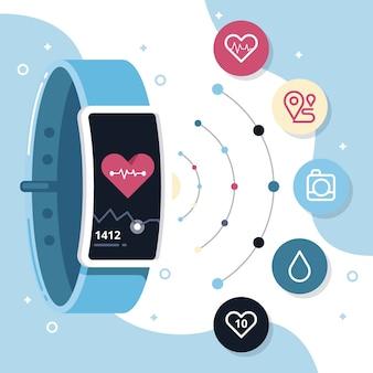 Fitness-tracker im flachen design Kostenlosen Vektoren