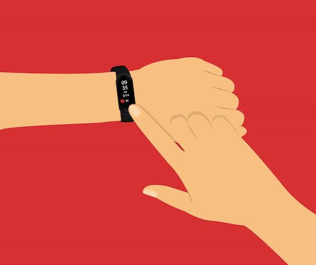 Fitness-tracker. intelligente uhr zur hand. konzept mit händen auf rot.