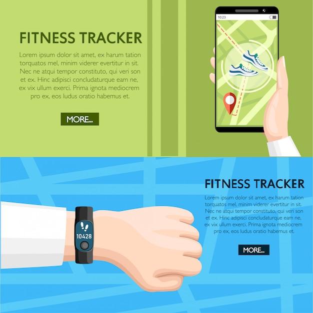 Fitness-tracker-konzept. sportarmband zur hand. smartphone mobile app zeigt weg. armband mit stufenzähler. illustration auf hintergrundtextur. platz für ihren text. webseite
