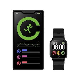 Fitness-tracker mit flachem design Kostenlosen Vektoren