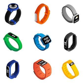 Fitness-tracker-set. isometrische reihe von fitness-tracker