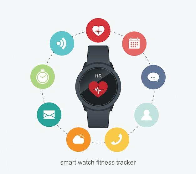 Fitness-tracker-technologiedaten mit anwendungen in smartwatch.